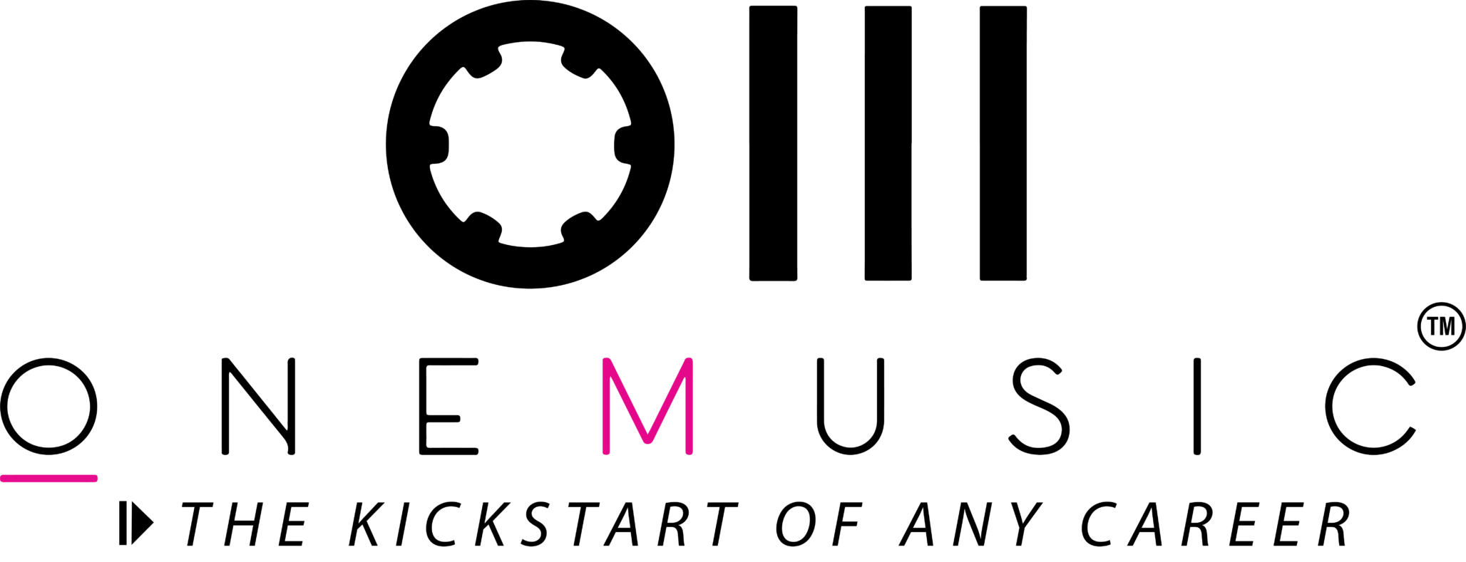 logo de l'école de musique avec slogan sur le fait que la discipline du l'école renforce les musiciens